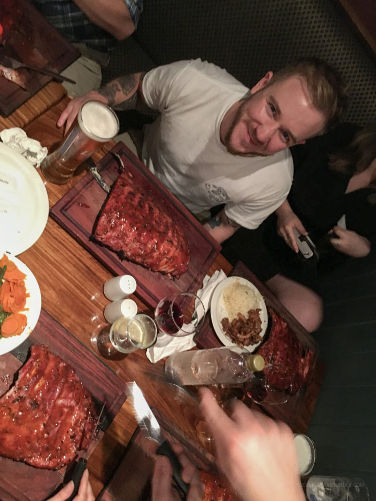 Ribs, ribs and yet more ribs. This is Zach. Groom, Ed is busy building up a bad dose of the meat-sweats on his right